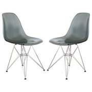 LeisureMod  Cresco Glossy Black Eiffel Dining Chair (Set of 2)