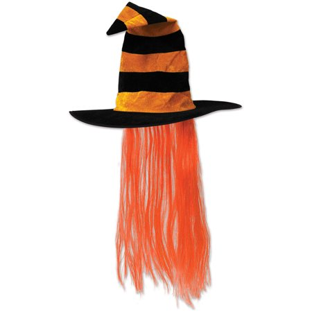 Witch Hat with Hair - Orange Case Pack 6 - Witch Hair