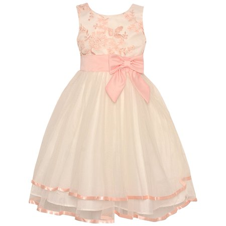 dedc2bf2a36 Rare Editions - Rare Editions Little Girls Peach Floral Embroidered ...