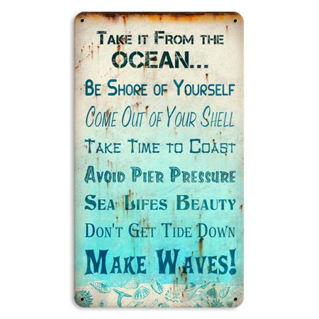 Past Time Signs PTS603 8 x 14 in. Oceanic Advice Small Satin Metal Sign Small Metal Sign