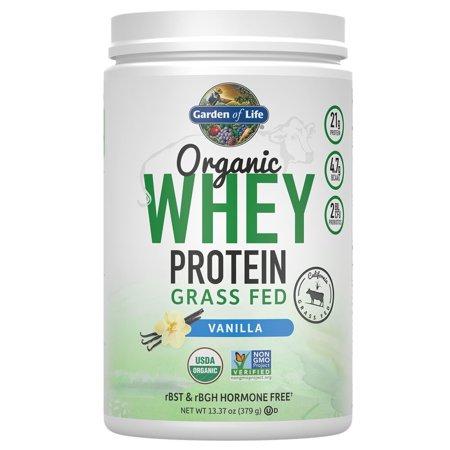 Garden of Life Organic Whey Protein Grass Fed Powder, Vanilla, 13.37