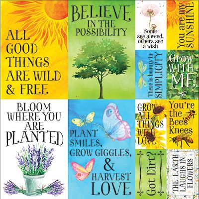 "Ella & Viv Love Grows Here Poster Stickers 12""X12""-"