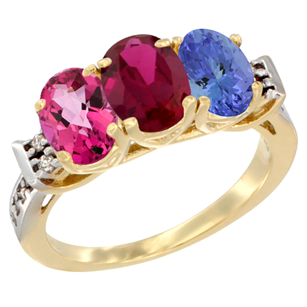 14K Yellow Gold Natural Pink Topaz, Enhanced Ruby & Natural Tanzanite Ring 3-Stone Oval 7x5 mm Diamond Accent, sizes 5... by WorldJewels
