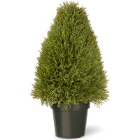 """National Tree 30"""" Upright Juniper with Green Pot"""