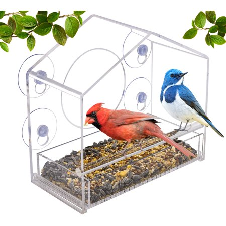 Window Alert Bird - Sorbus Bird Feeder – Window Birdhouse Feeders Outside Tray, Drain Holes, Extended Perch, Suction Cups – Crystal Clear Acrylic (Clear Window Feeder - Pitched Roof Style)