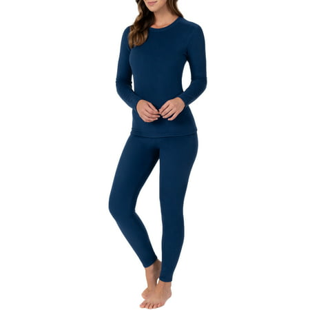 Flag Thermal Shirt - Fruit of the Loom Women's and Women's Plus Stretch Fleece Thermal Top and Pant Set