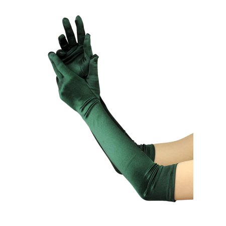 NYFASHION101 Women's Fashionable Classy Elbow Length Satin Gloves 12BL, Hunter Green - Yellow Satin Gloves