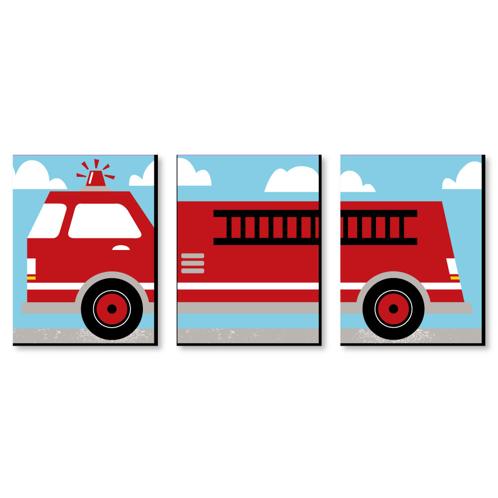 Fired Up Fire Truck Firefighter Firetruck Nursery Wall Art And Kids Room Décor 7 5 X 10 Set Of 3 Prints Walmart Com Walmart Com