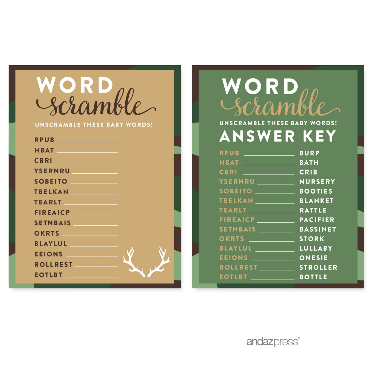 Word Scramble Green Woodland Camouflage Boy Baby Shower Game, 20-Pack