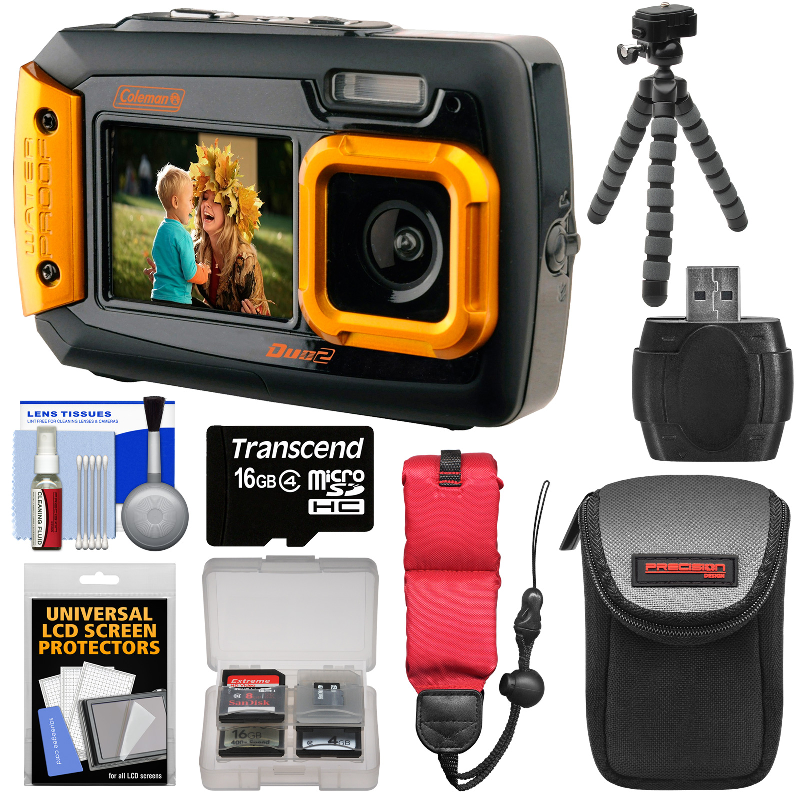 Coleman Duo 2V9WP Dual Screen Shock & Waterproof Digital Camera (Orange) with 16GB Card + Case + Float Strap + Flex Tripod + Kit