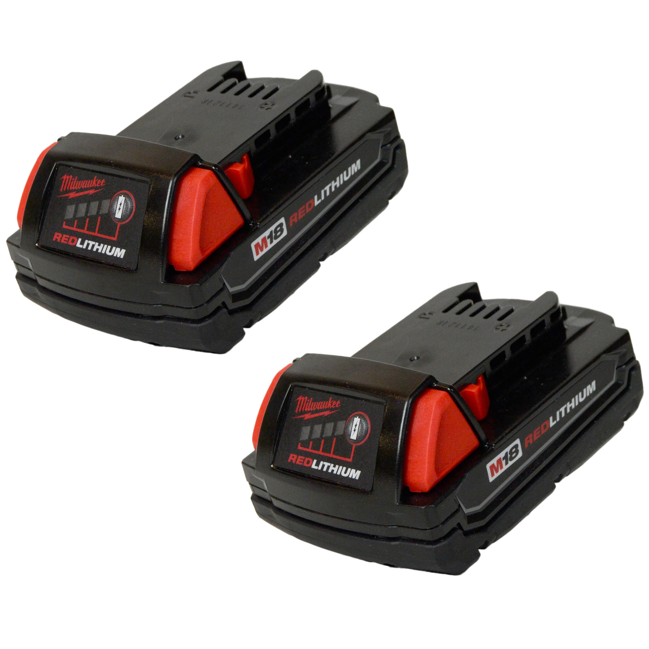 Milwaukee Tools 48-11-1815 18V M18 Compact RedLithium Rechargeable Battery (2-Pack)