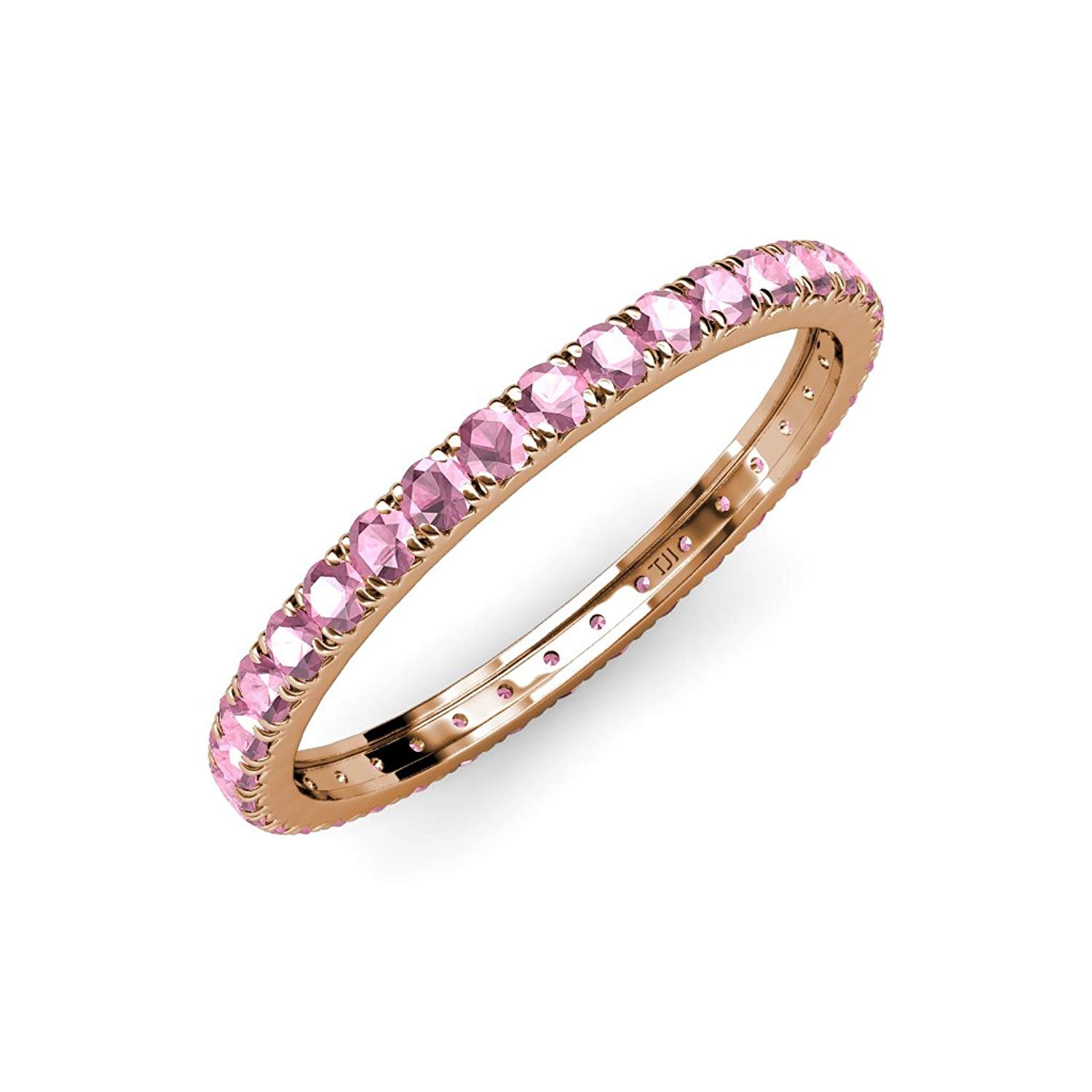 Pink Tourmaline French Set Eternity Band 0.86 ct tw to 1.03 ct tw in 18K Rose Gold.size 5.0 by TriJewels