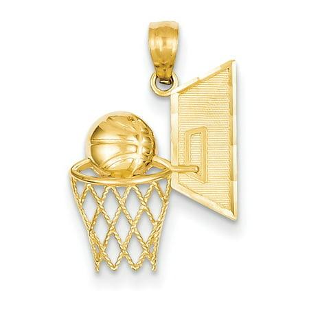 14k Yellow Gold Basketball (15x22mm) Pendant / Charm ()