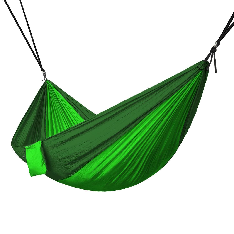 Portable 2 Person Hammock Rope Hanging Swing Camping Fruit Green & Dark Green by KapscoMoto