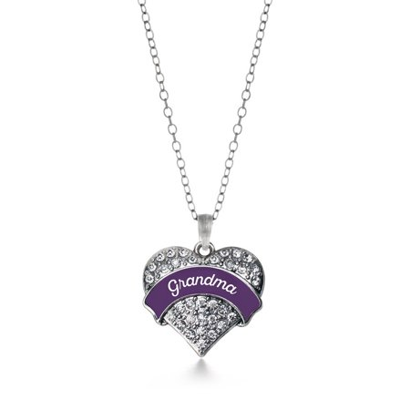Plum Grandma Pave Heart Necklace (Plum Glass Pendant)