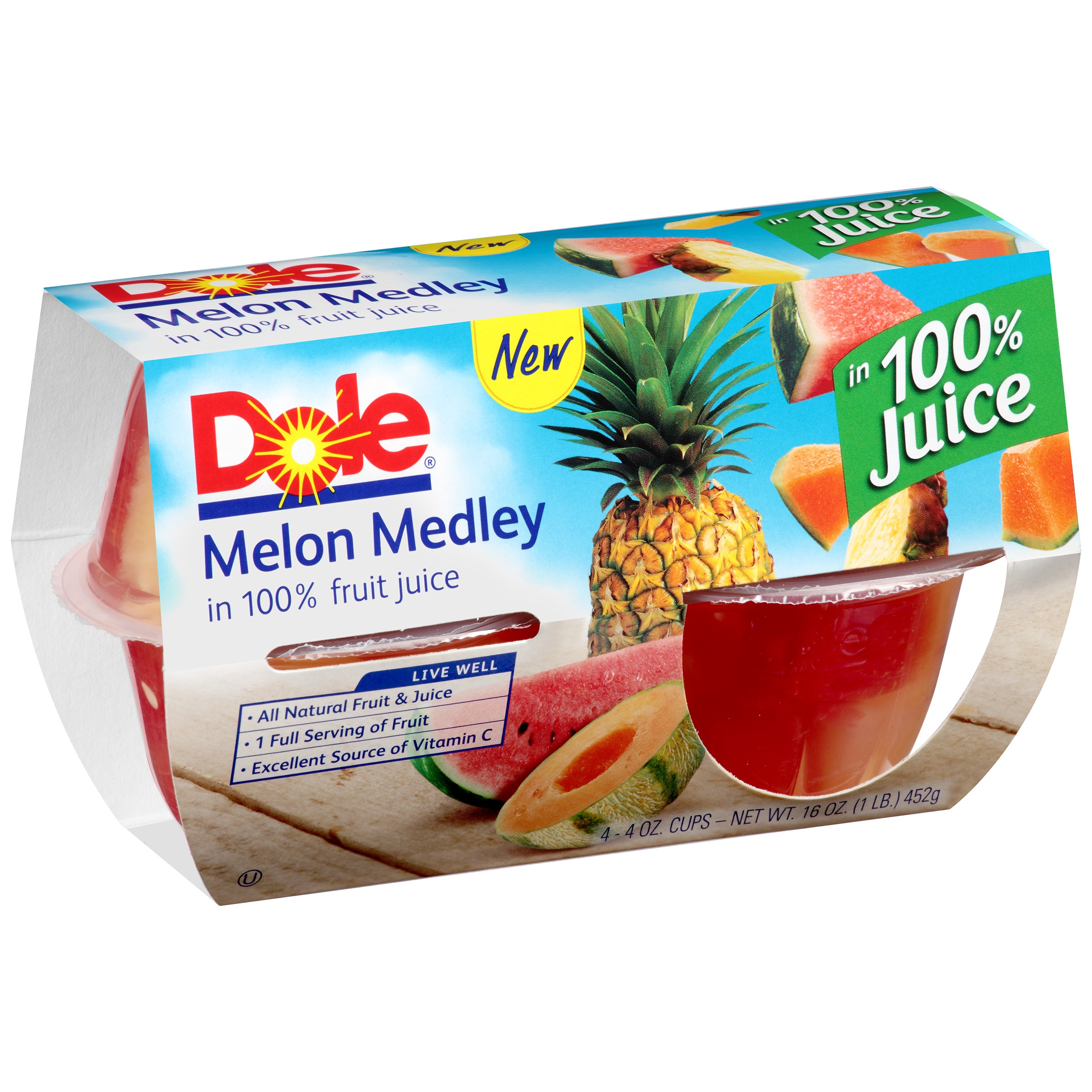 Dole�� Melon Medley in 100% Fruit Juice 4-4 oz. Cups