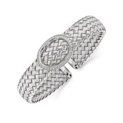 Leslies Sterling Silver Cz Woven Flexible Cuff