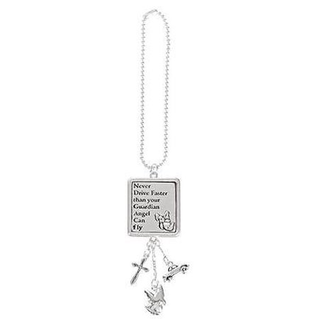 Car Charm - Never Drive Faster Than Guardian Angel - Hang from Rear View Mirror! - Guardian Angel Car Charm