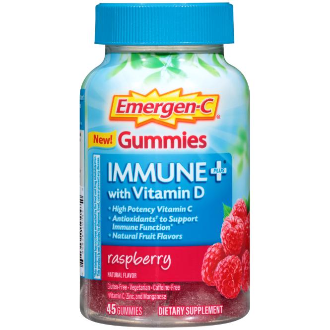 Emergen-C Immune + Gummies Raspberry 45 ct