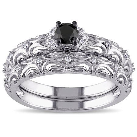 Sterling Silver 1/3ct TDW Diamond Filigree Vintage Bridal Ring Set