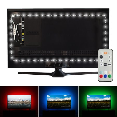 Luminoodle Professional Bias Lighting for HDTV | 15 Colors + 6500K True White LED TV Backlight | High Quality Adhesive RGB+W Strip Lights with Wireless Remote, Dimmer - Pro - X-Large (41