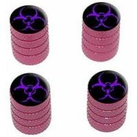 Zombie Outbreak Biohazard Purple Tire Rim Wheel Aluminum Valve Stem Caps, Multiple Colors