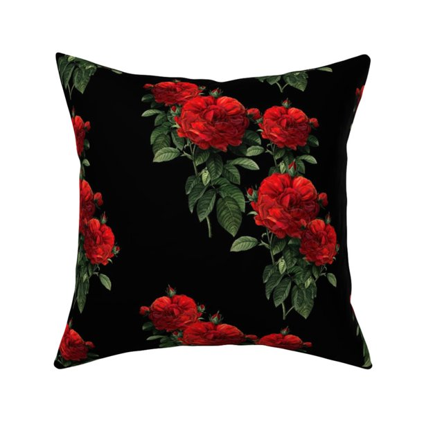 Roses Red Redoute Gothic Goth Throw Pillow Cover W Optional Insert By Roostery Walmart Com Walmart Com