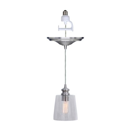 Worth Home Products Instant Pendant Recessed Light Conversion Kit Clear Glass Shade with Vintage Bulb