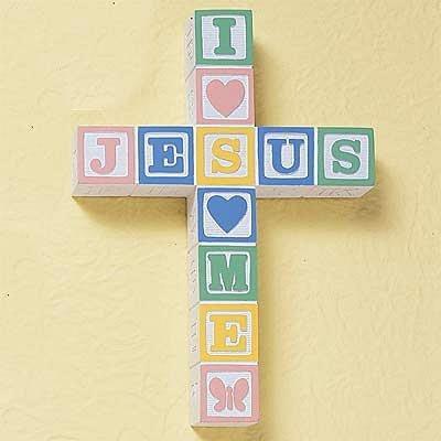 Abbey Press - Abbey Press I Love Jesus ABC Block Cross - Pastel Colors - Inspiration 72115-ABBEY