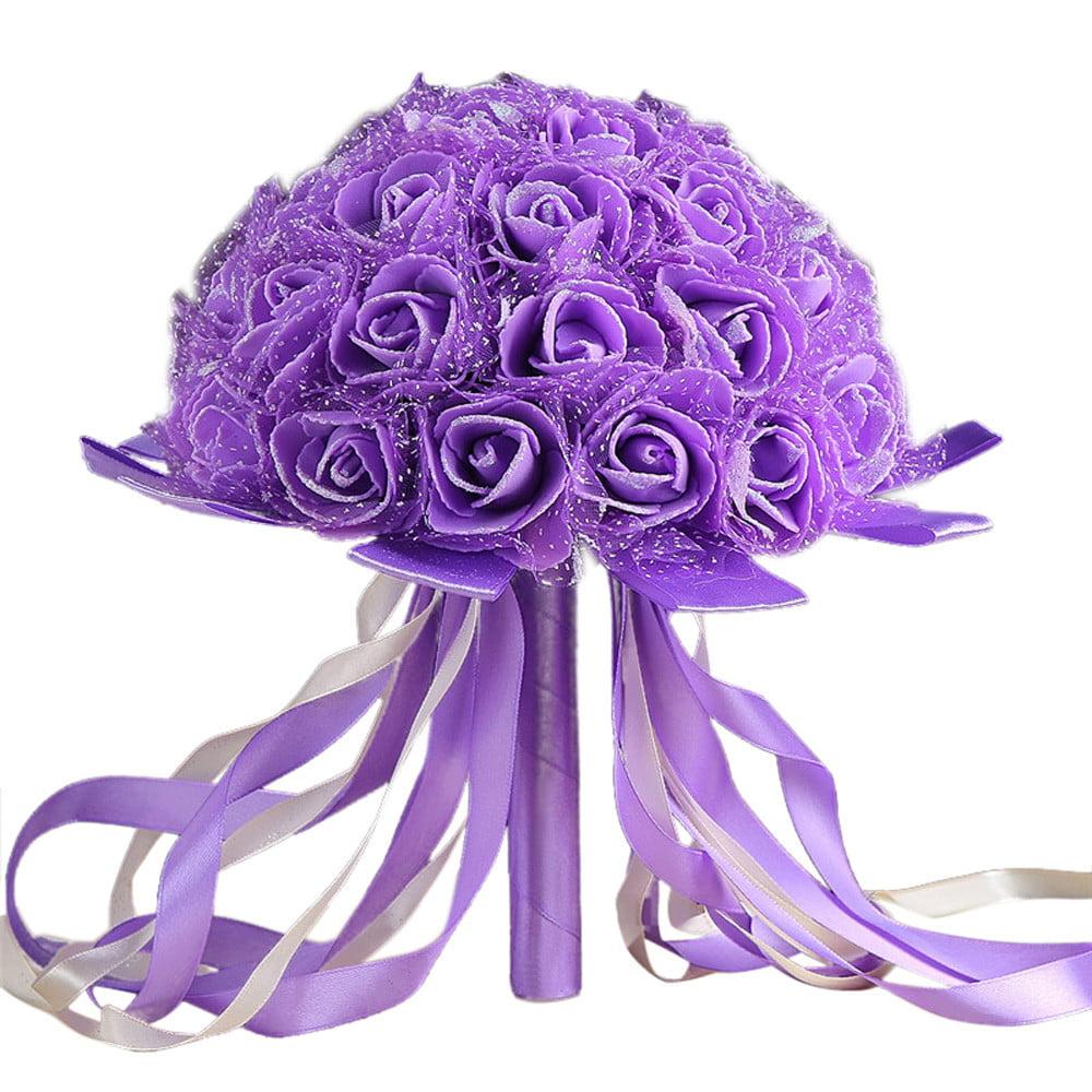 Crystal Ribbon Roses Bridesmaid Wedding Bouquet Bridal Artificial Silk Flowers