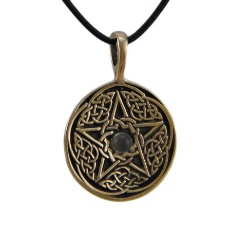 Bronze Finish Celtic Pentacle Pendant w/ Moonstone Cabochon