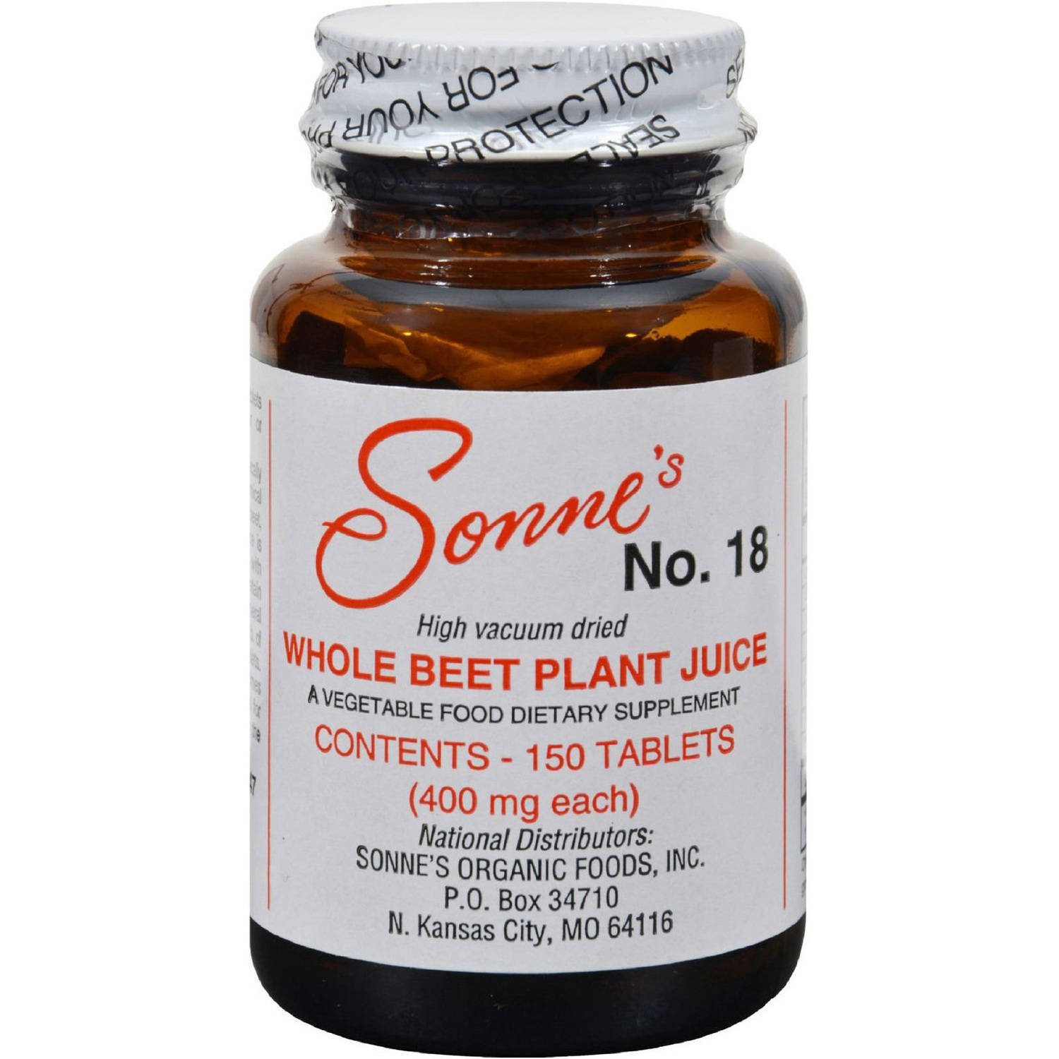 Sonne's Whole Beet Plant Juice, No. 18, 150 CT