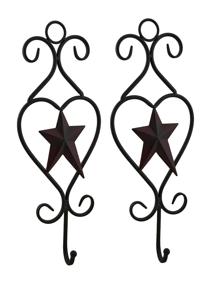 2 Piece Rustic Barn Star Decorative Metal Wire Scroll Wall Hook Set
