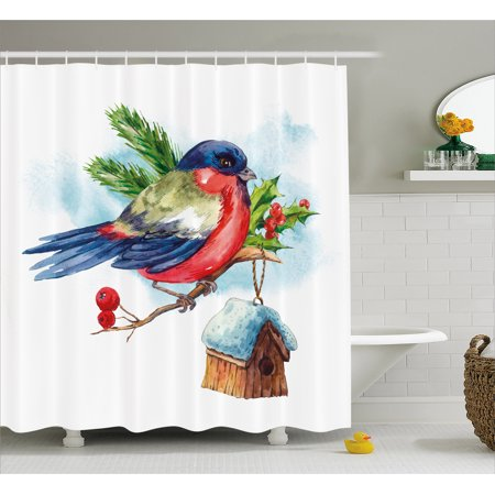Rowan Shower Curtain  Merry Christmas Composition With Cute Bullfinch Holly Pine Cone Bird House In Winter  Fabric Bathroom Set With Hooks  69W X 75L Inches Long  Multicolor  By Ambesonne