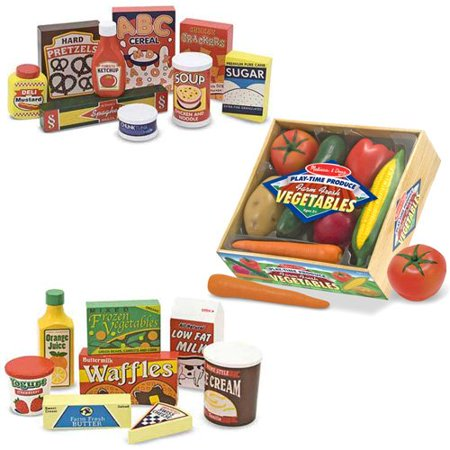 Melissa Doug Wooden Fridge Food Set Pantry Products And Playtime Veggies
