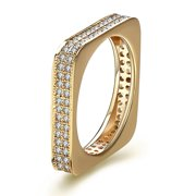 Unique Square Eternity Pave Cz 14K Gold Plate Wedding Band Bridal Ring