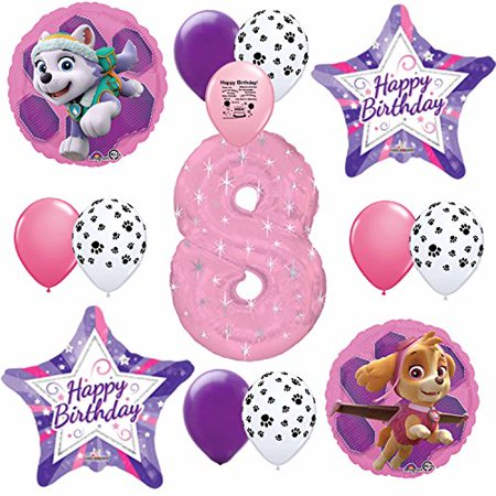 Skye Pink Paw Patrol Happy 8th Birthday Balloon Set