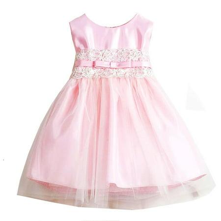 Sweet Kids Baby Girls Pink Satin Lace Bow Tulle Flower Girl Dress 6-24M](Sweet Dresses For Girls)