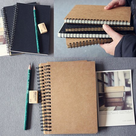 HiCoup Retro Kraft Spiral Binding Blank Graffiti Sketchbook Notebook Graduation Gift