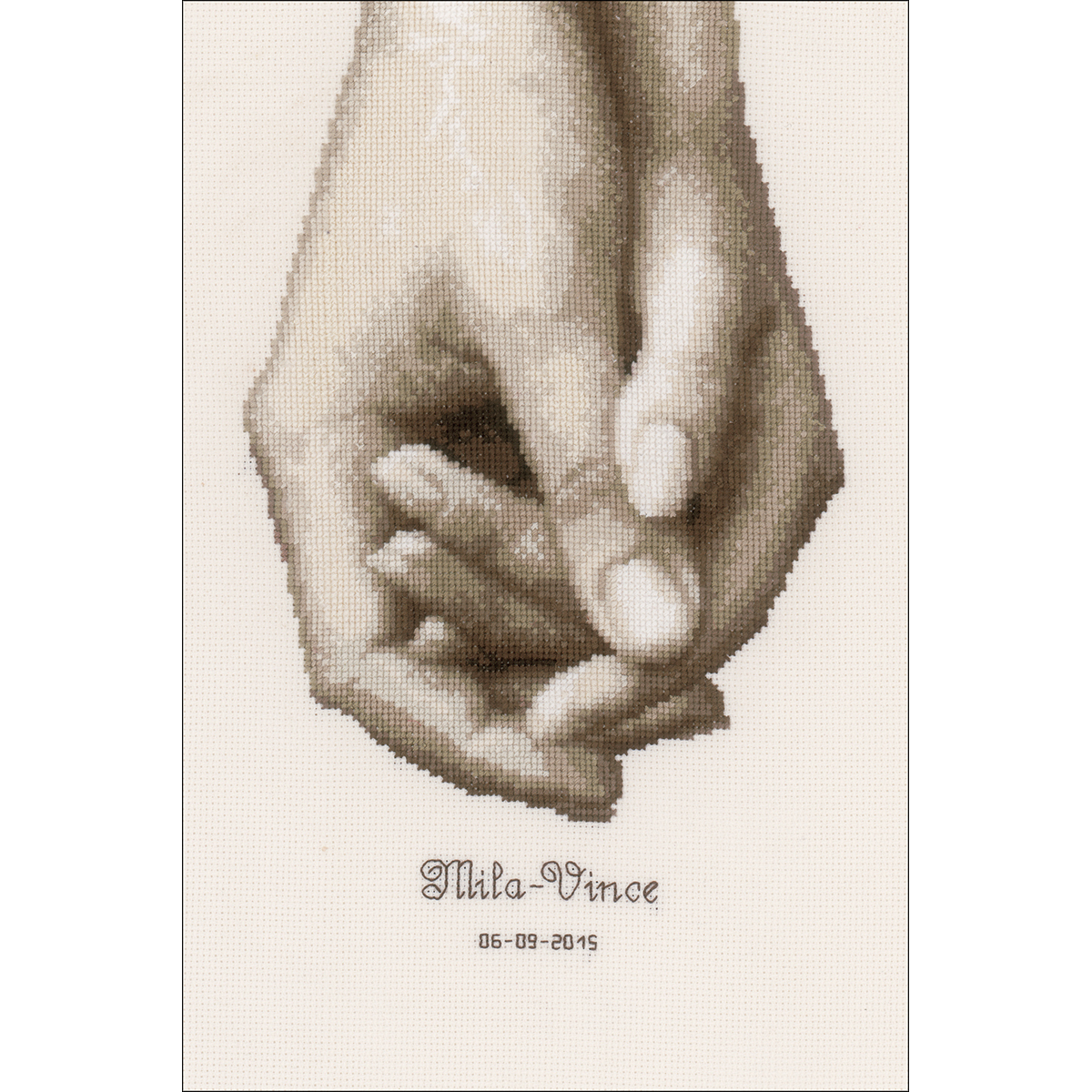 """Hand In Hand On Aida Counted Cross Stitch Kit-6.8""""X10"""" 18 Count"""