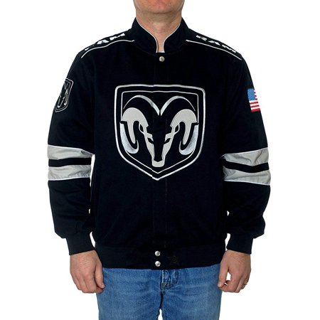 JH Design Men's Dodge RAM Embroidered Cotton Twill - Louis Rams Pullover Jacket