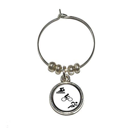 - Triathlete Swim Bike Run - Triathlon Wine Glass Charm