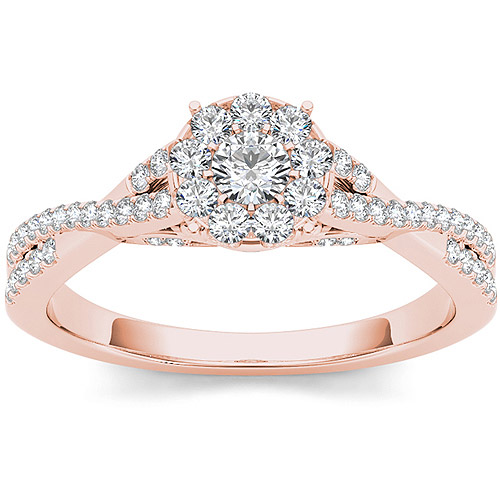 Imperial 1 2 Carat T.W. Diamond 10kt Rose Gold Criss Cross Engagement Ring by Imperial Jewels