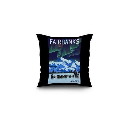 Fairbanks, Alaska - Northern Lights & Dog Sled - Lithograph - Lantern Press Artwork (16x16 Spun Polyester Pillow, Black Border)