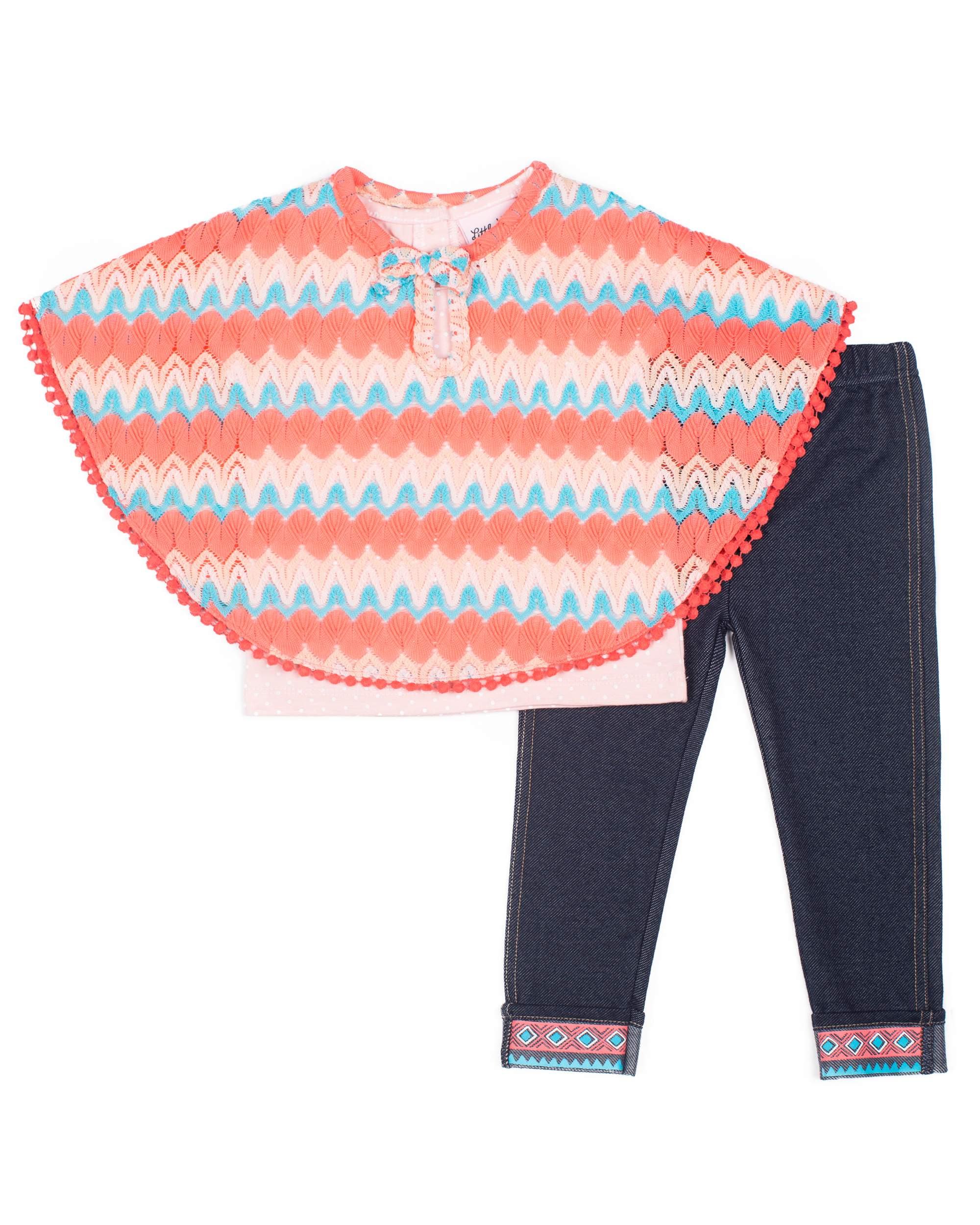 Chevron Knit Poncho, Tee and Knit Denim Legging, 3-Piece Outfit Set (Little Girls)