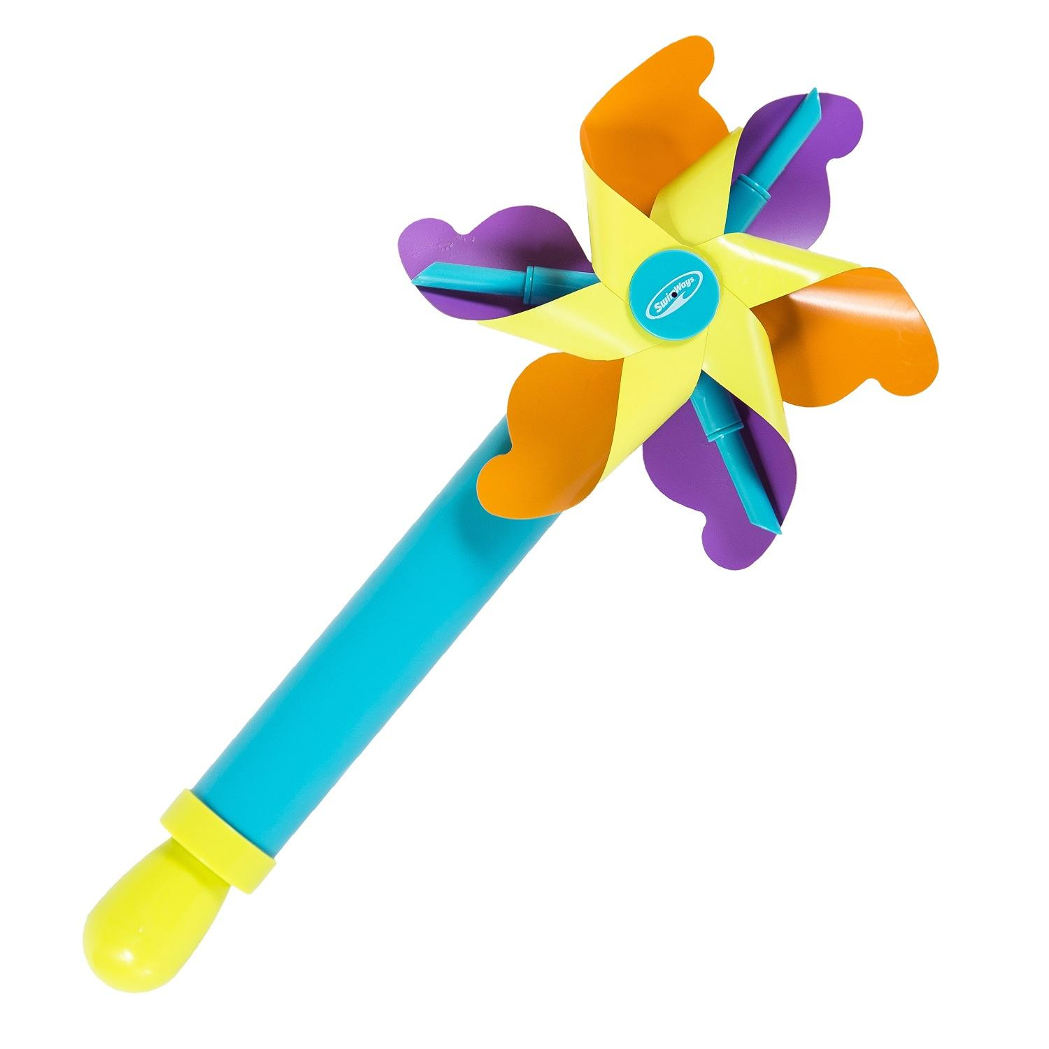 "14.5"" Blue, Green, Purple and Orange Pinwheel Squirter Swimming Pool Water Squirt Toy"