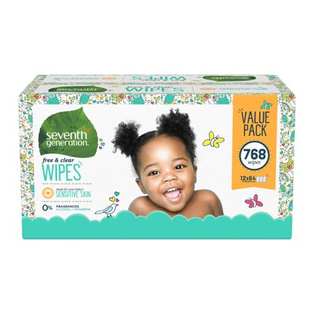 Seventh Generation Sensitive Baby Wipes with Flip-Top Dispenser, Free & Clear, 768