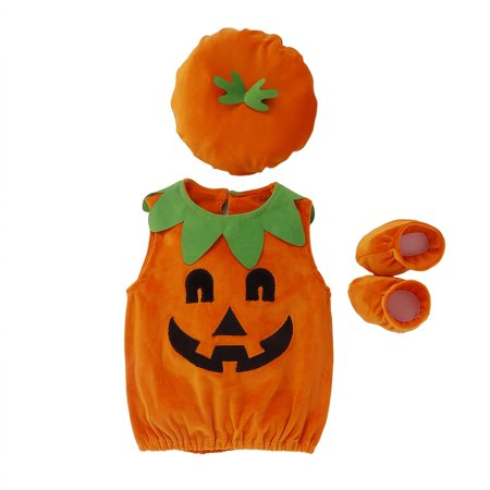 Halloween Fantasy Pics (Cute Cosplay Halloween clothes Baby Kids Pumpkin Suit sleeveless vest Tops+Hat+Shoes 3 pcs Clothes)