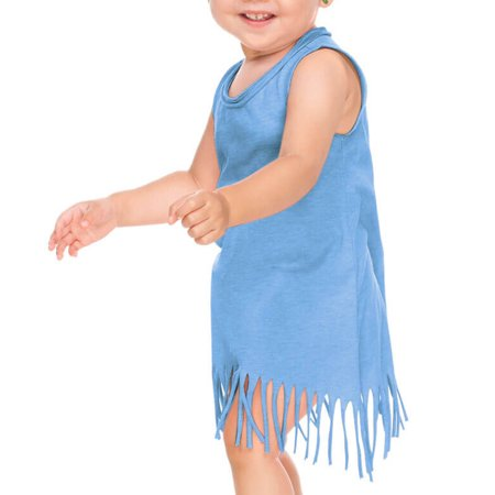Kavio! Infants Sheer Jersey Raw Edge Fringe Asymmetrical Tank Dress Azure 24M](First Communion Dress For Boys)
