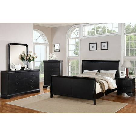 Bedroom Furniture Modern Black Queen Size Bed Dresser Mirror Nightstand 4pc Set Curved Panel Sleigh